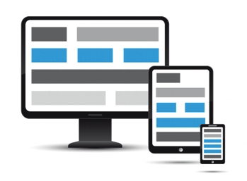 Web Design and Social Media Image of Computer monitor, tablet and cell phone